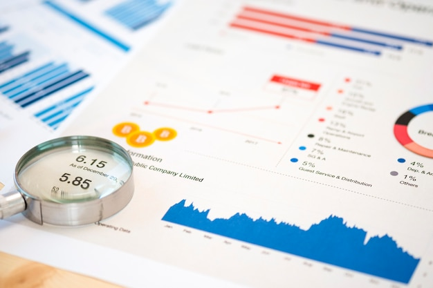 Magnifier glass and financial data on businessman 's desk for analysis and find the best stock from stock market.