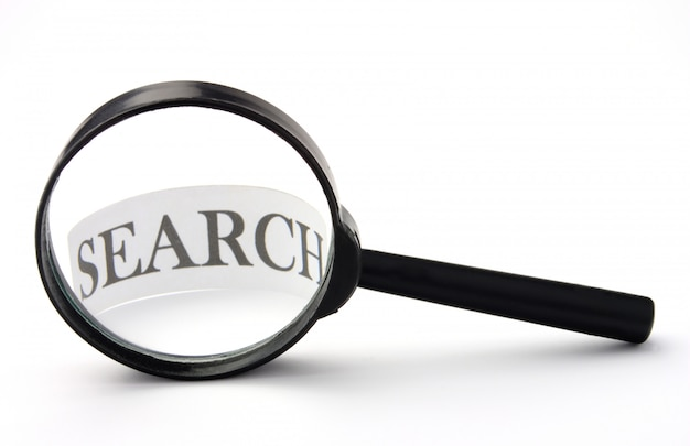 Magnifier glass with search word