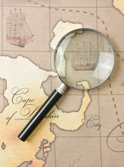 Magnifier on a stylized map