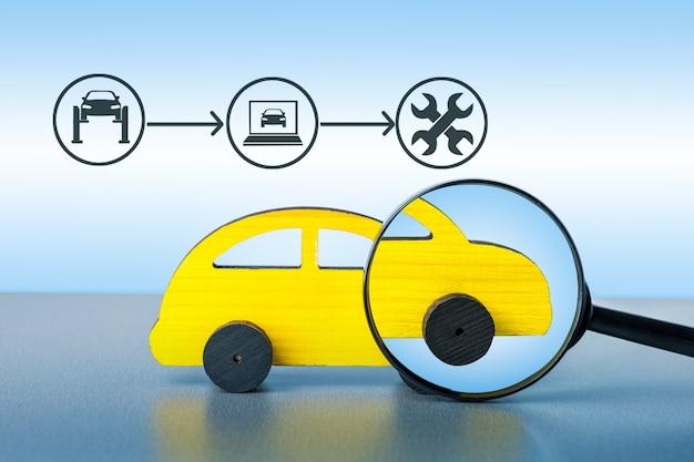 자동차 서비스 다이어그램으로 자동차를 확대합니다. 자동차 서비스 개념입니다.