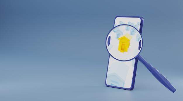 스마트폰에서 자산 창고 검색 확대 찾기. 3d 렌더링.