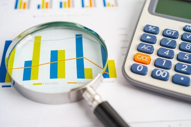 チャートグラフ紙の虫眼鏡と電卓。金融開発、銀行口座、統計、投資分析研究データ経済、証券取引所取引、営業所のコンセプト。