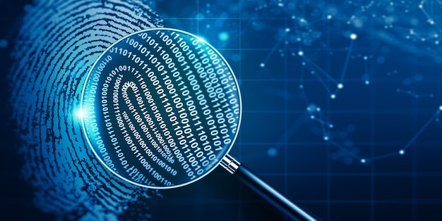 Magnifying glass and biometric authentication technology with binary code fingerprint technology