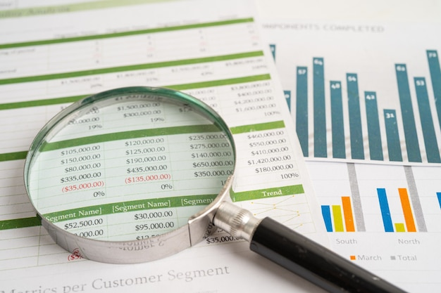 Magnifying glass on charts graphs paper financial banking account