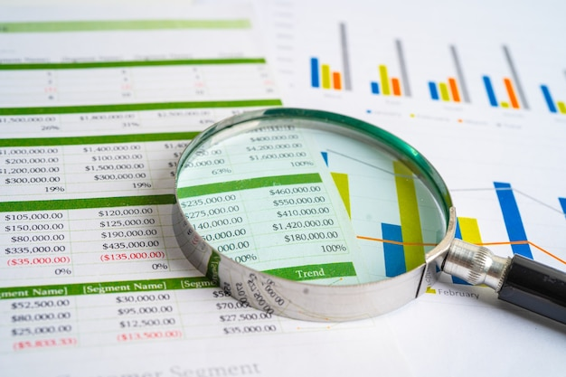 Magnifying glass on charts graphs paper financial development banking account