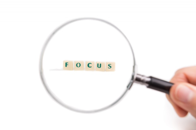 Magnifying glass on focus letters