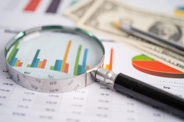 Magnifying glass on graphs paper financial development banking account statistics