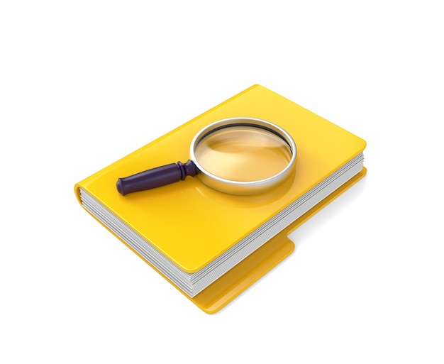 Magnifying glass lying on yellow folder isolated on white