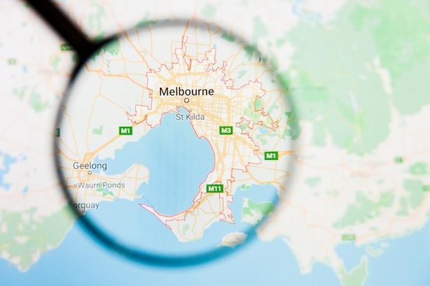 オーストラリア地図上の虫眼鏡