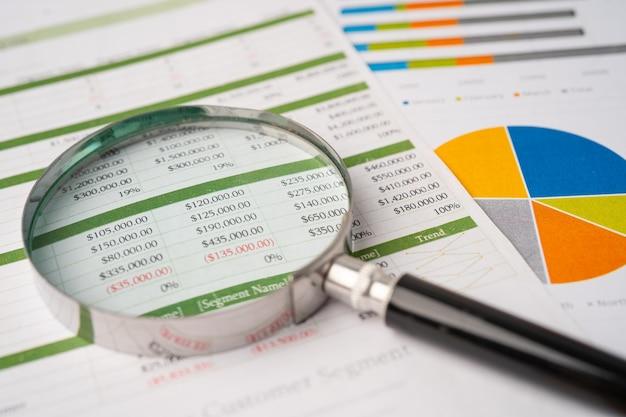 Увеличительное стекло на диаграммах миллиметровой бумаги. финансовое развитие, банковский счет, статистика, экономика данных инвестиционно-аналитических исследований, торговля на фондовой бирже, концепция встречи бизнес-офиса.