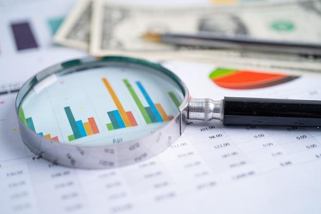Увеличительное стекло на диаграммах миллиметровая бумага финансовое развитие