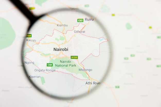 케냐지도에 돋보기