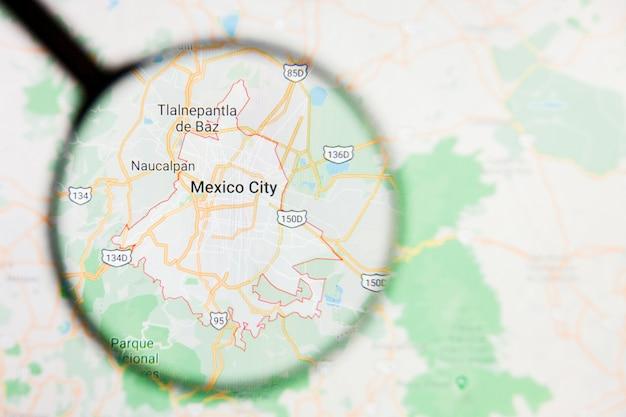 Увеличительное стекло на карте мексики