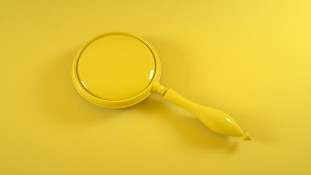 Увеличительное стекло на желтом. 3d рендеринг.