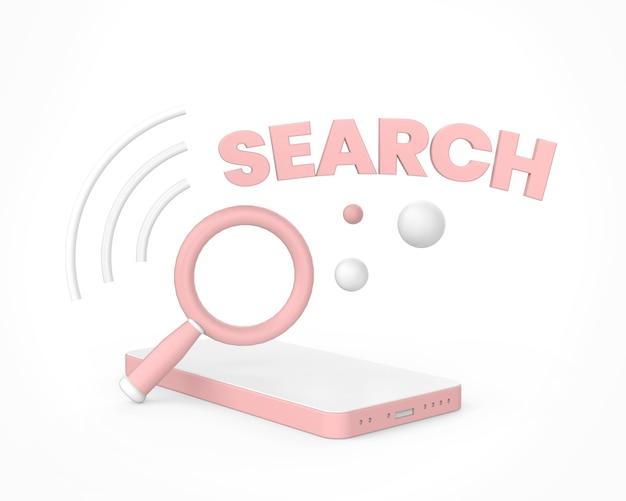 Magnifying glass search icon, 3d render, minimal. premium photo