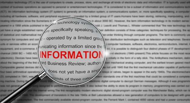 Слово с информацией для поиска с увеличительным стеклом поисковая система и поисковый документ