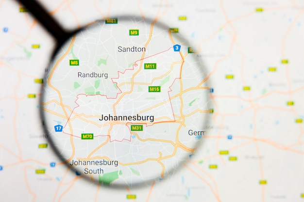 Magnifying glass on south africa map
