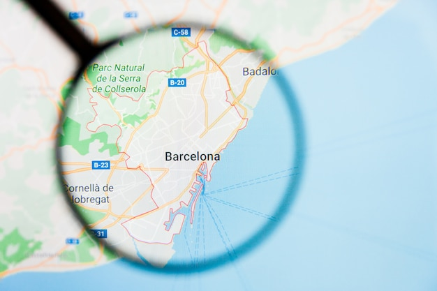 Magnifying glass on spain map