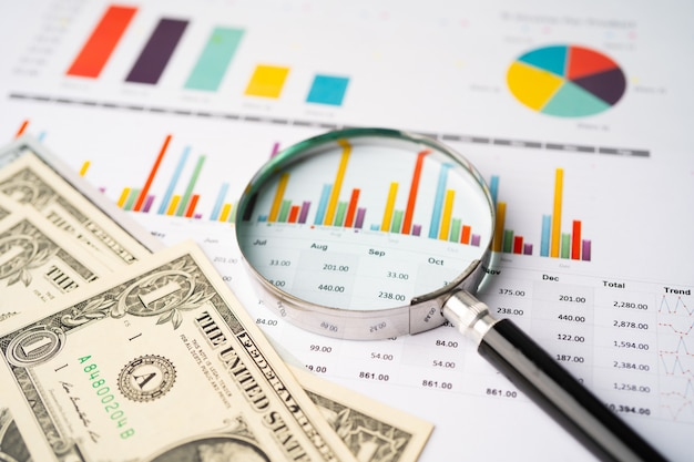 Magnifying glass and us dollar banknotes on graph background.