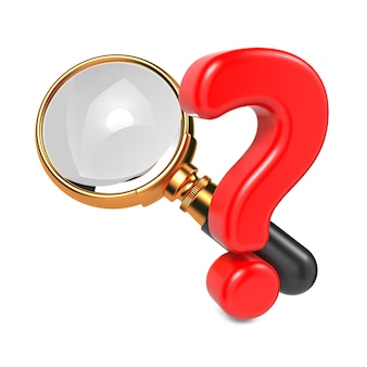 Magnifying glass with gold border and question mark. isolated on white.