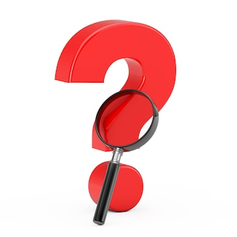 Magnifying glass with red question mark on a white background. 3d rendering