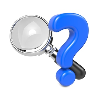 Magnifying glass with silver border and question mark. isolated on white.