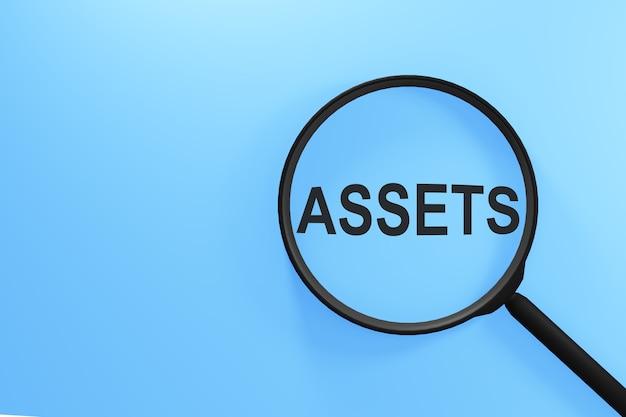 파란색 배경에 assets라는 글자가 있는 돋보기.