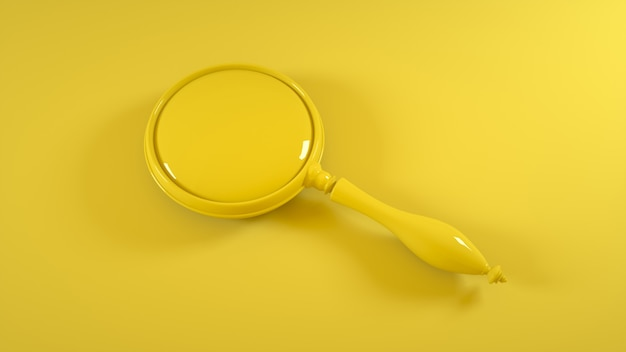 Magnifying glass on yellow. 3d rendering.