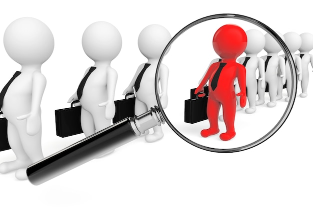 Magnifying lens over grey teamwork with red leader on a white background