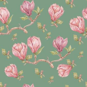 목련 꽃 꽃 밝은 이국적인 수채화 손으로 그린 인쇄 원활한 세트 자연 꽃 가지와 잎 식물 식물학