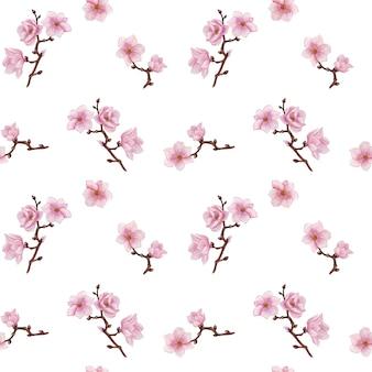 マグノリアシームレスパターン、春咲く紙、水彩マグノリアデジタルペーパー、スクラップブック紙