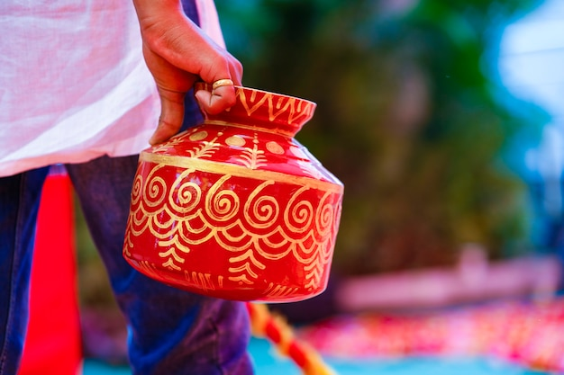 Maharashtra wedding ceremony in hinduism  decorative steel ghada
