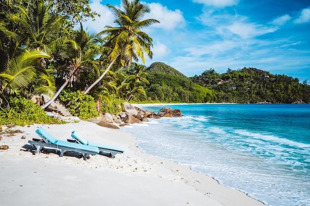マヘ島、セイシェル。美しいアンスインテンダンス、リラックスできるラウンジャー付きのトロピカルビーチ。青い海、砂浜、ヤシの木。旅行のコンセプト。