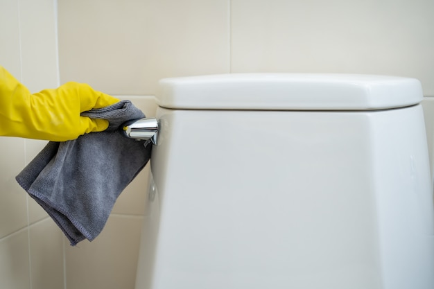 Maid cleaning flush toilet by using alcohol and liquid cleaning solution