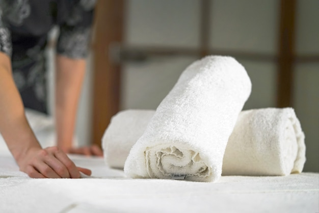 Maid cleaning at the spa. woman masseuse in the workplace. the concept of health and beauty.