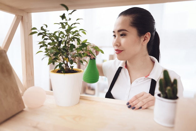 Maid spraying plants apartment cleaning service.