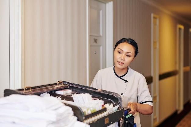 Горничная с тележкой в отеле