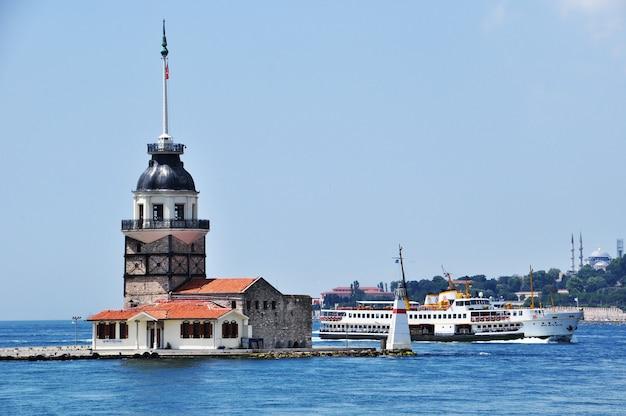 Девичий остров. панорамный вид на остров и пролив босфор. 10 июля 2021 г., стамбул, турция