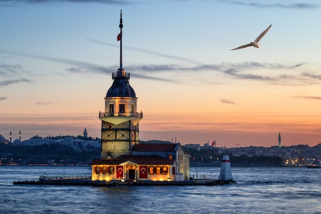 Maiden's tower on the island in the bosphorus strait