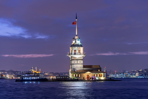 Maiden's tower or kiz kulesi in night time in istanbul, turkey