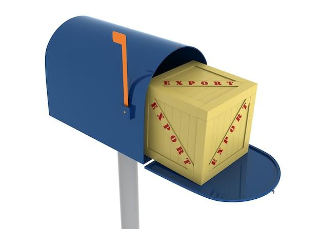 수출용 상자가 있는 우편함. 디지털로 생성된 이미지.