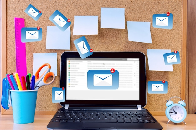 Mail communication, connection message to mailing contacts, global letters concept.