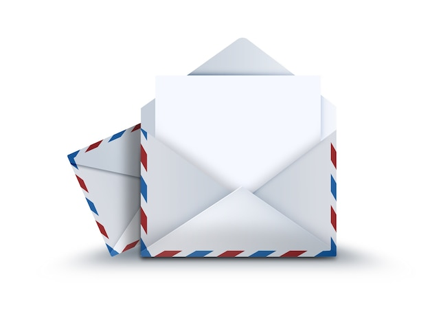 Mail envelope with a sheet of paper