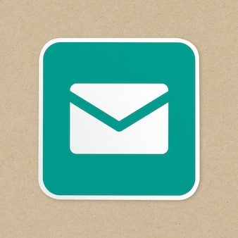 Mail green button icon isolated