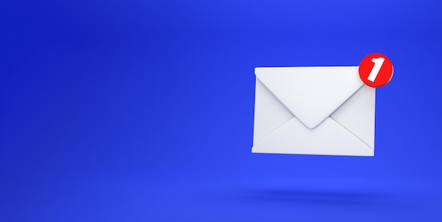 Mail notification one new email message in the inbox concept isolated on blue background with shadow 3d rendering