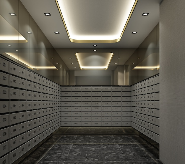 Mailbox room in apartment modern luxury style 3d rendering