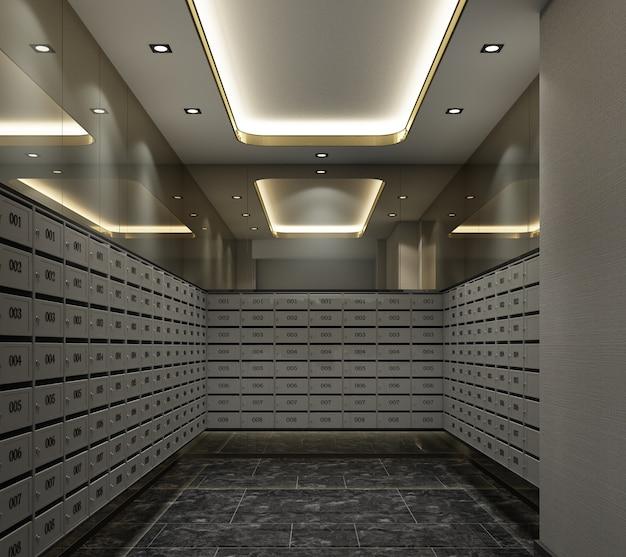 Комната почтового ящика в квартире современный роскошный стиль 3d-рендеринга