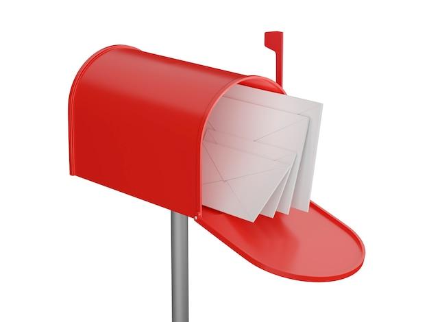 편지와 함께 사서함입니다. 빨간 우체통을 엽니다. 3d 렌더링입니다.