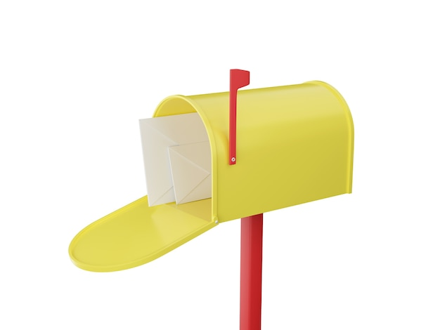 Mailbox with letters. open yellow postbox.