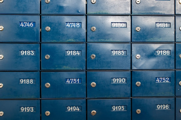 Mailboxes or subscriber boxes in close-up